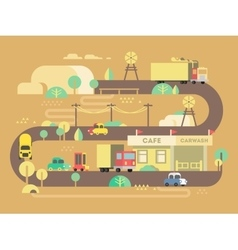 Roadside cafe design flat vector