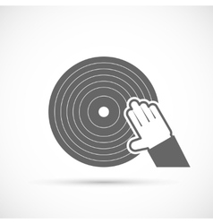 Hand scratching vinyl record icon vector