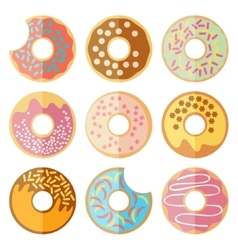 set of donut isolated on a white background vector image