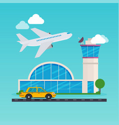 Airport area flat design modern concept vector