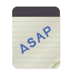 asap lettering notebook template vector image vector image