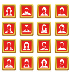 avatars set icons set red vector image