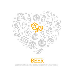 Beer thin line icons in heart shape design vector