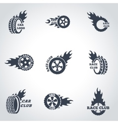 black Racing labels icon set vector image vector image