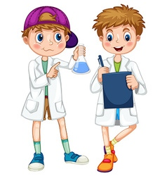 Boys in science gown writing and experimenting vector image