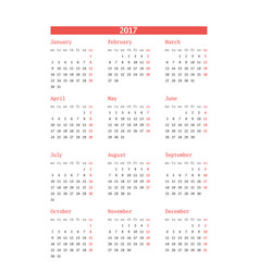 calendar for 2017 year on white background design vector image vector image