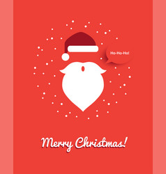 christmas greeting card with santa head vector image vector image