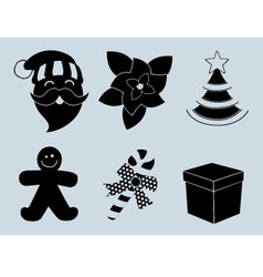 Christmas set of icons collection silhouette vector