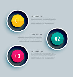 Circle infographic design with three steps vector