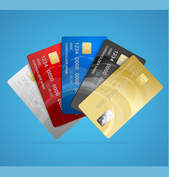 Credit plastic card set vector
