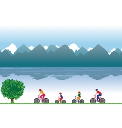 Family on bicycles family sports vector