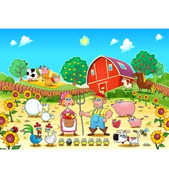 Funny farm scene with animals and farmers vector