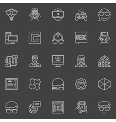 Geek line icons vector