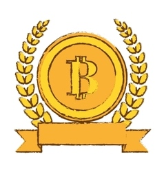 Golden bitcoin icon digital symbol vector