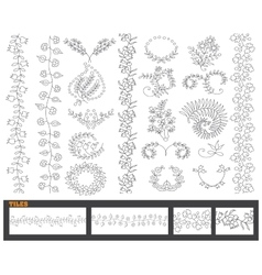 Hand drawn line border set and vector image vector image