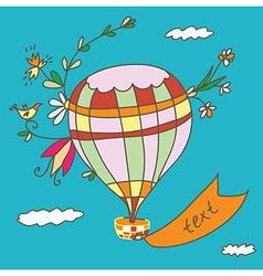 Hot air balloon greeting card funny vector image vector image