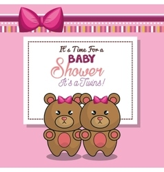 Invitation baby shower twins girl pink bear vector