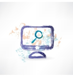 magnifying monitor grunge icon vector image
