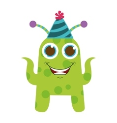 monster cartoon with party hat isolated icon vector image