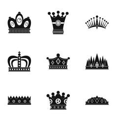 Nobility crown icon set simple style vector