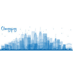 Outline chongqing skyline with blue buildings vector