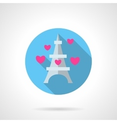 Paris symbol round flat icon vector image