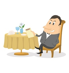 Restaurant man near table isolated vector