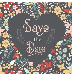 Save the date phrase on heart frame vector image vector image