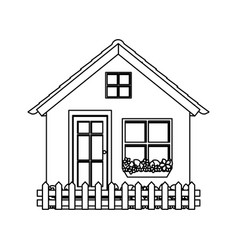 Silhouette comfortable facade village with garden vector