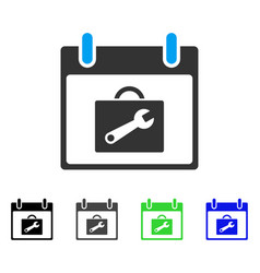 Toolbox calendar day flat icon vector