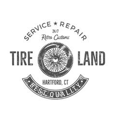 Vintage tire service label design Retro emblem in vector image vector image