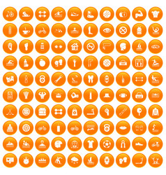 100 men health icons set orange vector