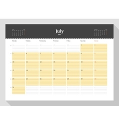 Calendar template for 2017 year july business vector