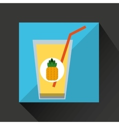 Fresh juice pineapple and cup glass straw design vector