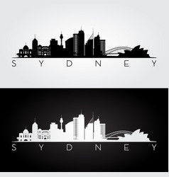 sydney skyline and landmarks silhouette vector image