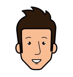 Young man head avatar character vector