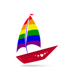 A ship with sails and a red board color lgbt vector