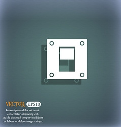Power switch icon sign on the blue-green abstract vector
