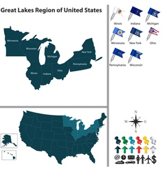 Map of great lakes region vector
