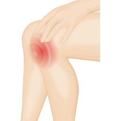 Pain in the knee vector