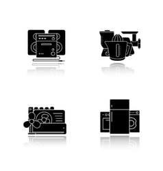 Household appliances drop shadow icons set vector