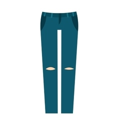 Cartoon jeans trousers details silhouettes of vector