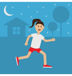 Funny cartoon running girl cute run woman night vector