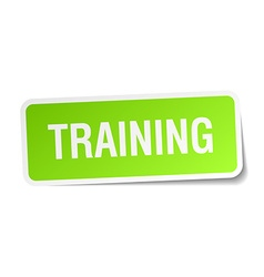 Training green square sticker on white background vector
