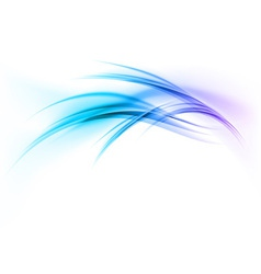 Abstract smoke on white curves blue vector