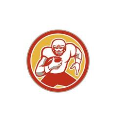 American football running ball circle retro vector