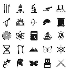 Ancient icons set simple style vector
