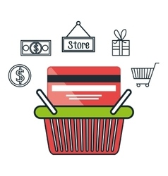 basket e-commerce shop online design vector image
