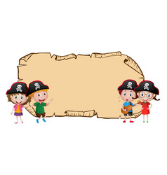 Blank map with four pirates vector
