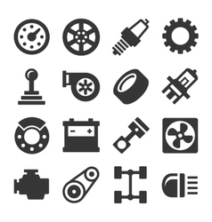 Car parts icons set on white background vector